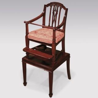 A fine Sheraton period mahogany Child's Chair.