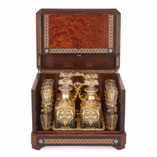 Antique cut glass liquor set in birdseye maple marquetry box