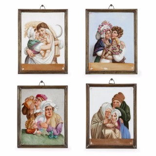 Four Meissen porcelain plaques depicting the Four Seasons
