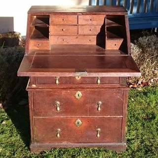 Unusually Small Early 18th Century William And Mary Period Oak Bureau