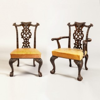 Set of Twelve Dining Chairs in the Manner of Thomas Chippendale