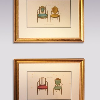 """Pair of mid 19th Century Furniture Prints from George Hepplewhite's """"The Cabinet-Maker & Upholsterer's Guide, 1789"""""""