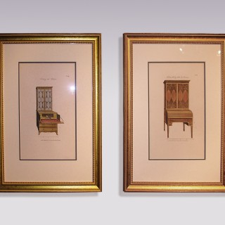 "Pair of mid 19th Century Furniture Prints from George Hepplewhite's ""The Cabinet-Maker & Upholsterer's Guide, 1789"""