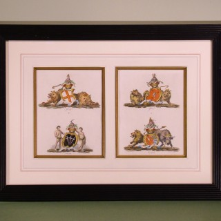 A Pair of late 18th Century Heraldic Prints by Christopher Catton.