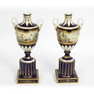 Antique Pair French Sevres Porcelain Vases 19th C
