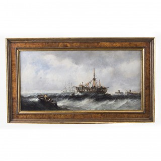 Antique Pair Seascape Oil Paintings Fishing Boats 19th century