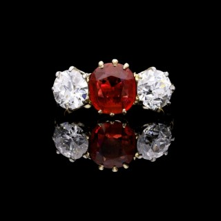 Burmese Ruby and Old cut Diamond Three Stone Ring in Yellow Gold and Platinum