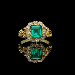 Gold, Colombian Emerald and Old Cut Diamond Square Cluster Ring with scrolled shoulders