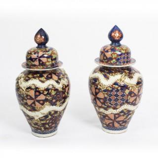 Antique Large Pair Japanese Imari Dragon Porcelain Vases 19th C
