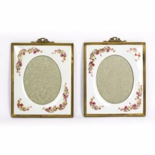 Antique Pair Continental porcelain photograph frames C1900