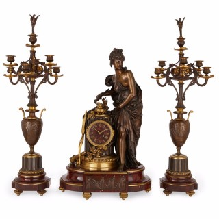 Lemerle-Charpentier & Cie marble, gilt and patinated bronze clock set