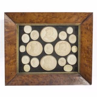 Antique Set 19 Grand Tour Plaster Framed Portrait Medallions C1840