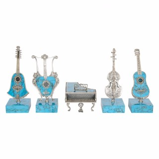 Set of five antique Viennese miniature silver and turquoise instruments
