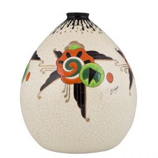 Art Deco crackle & enamel ceramic vase