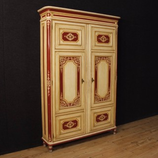 Italian Lacquered Wardrobe In Wood In Louis XVI Style