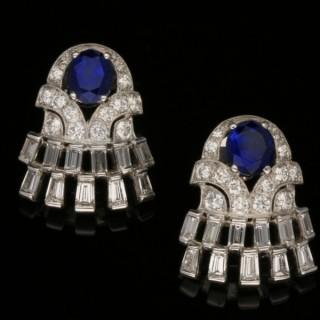 Vintage sapphire and diamond earrings, circa 1960.