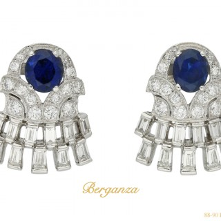 Vintage sapphire and diamond earrings, circa 1960.