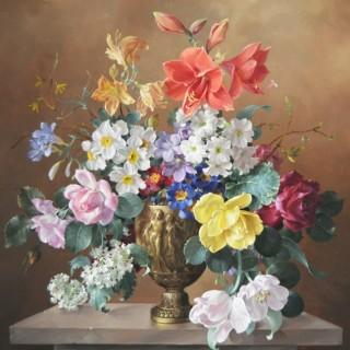 FLOWERS IN A BRONZE VASE