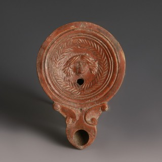 Roman Oil Lamp with Gorgon Head