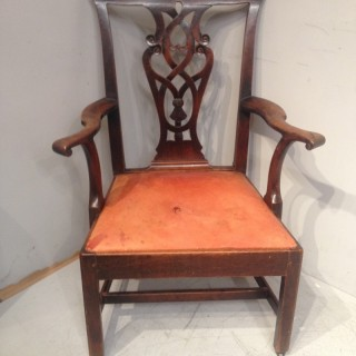 Large Chippendale tall back library chair.
