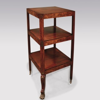 Regency period flame figured mahogany 3-tier Whatnot.
