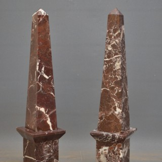 Pair of Rogue Marble Obelisks H75cm