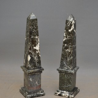 Pair of Decorative Marble Obelisks H50cm