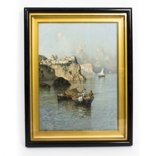 Antique Oil Painting Giuseppe Carelli Fishing Boats off the Coast 19th C