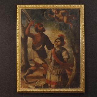 Italian Religious Oil Painting On Canvas Martyrdom of Saint Alexander 18th Century