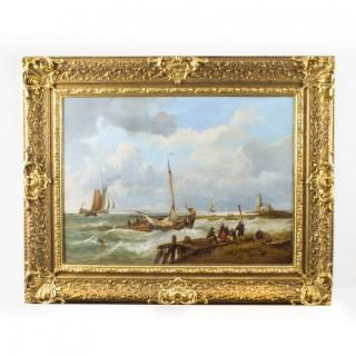 Antique Dutch Oil on Canvas Painting of a Coastal Scene Circa 1850