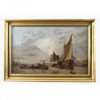 Antique Dutch Painting of Boats on an Estuary Circle Hermans Koekkoek 19th C