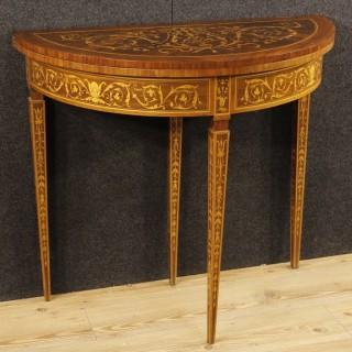 Italian Inlaid Demilune Console Table In Louis XVI Style 20th Century