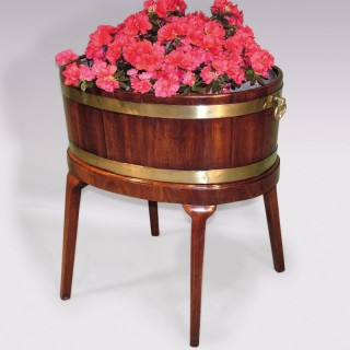 Antique George III period mahogany and brass Wine Cooler on Stand.