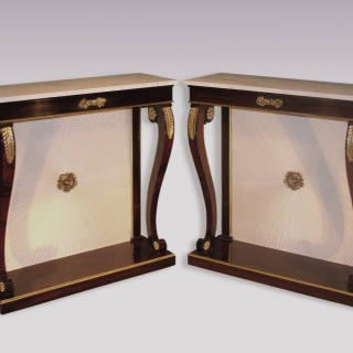 A pair of Regency period rosewood and simulated rosewood Console Tables.