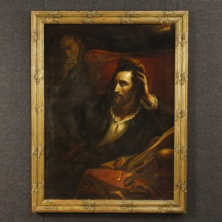 French Oil Painting On Canvas The Faust 19th Century