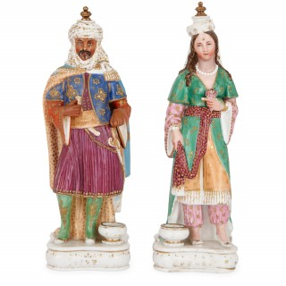 Pair of antique porcelain perfume bottles by Jacob Petit