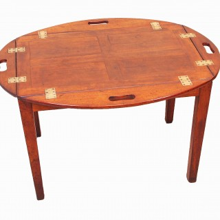 Antique Georgian Mahogany Oval Butlers Tray On Stand
