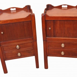 Antique Georgian Mahogany Pair Of Tray Top Commodes Or Bedside Night Tables