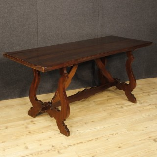 Italian Refectory Table In Walnut And Chestnut 20th Century