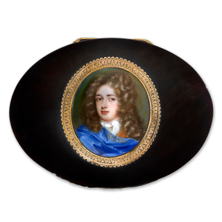 Portrait enamel, possibly of Philippe de Lorraine (1643-1702), wearing ochre-coloured coat, blue cloak edged with gold embroidery and white jabot, full-bottomed wig, c.1675