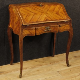 French Bureau In Rosewood, Palisander, Maple Wood With Gilt Bronzes