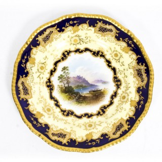 Antique Coalport Porcelain Plate Lake Menteith 1891