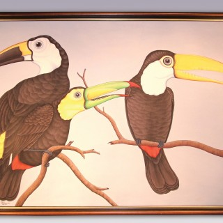 Contemporary Oil painting of Birds by Balinese artist Jirya.