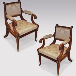 An unusual pair of 'Thomas Hope' Sabicu wood Armchairs.