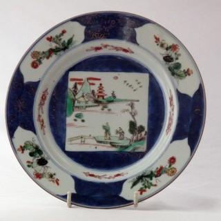 Kangxi Famille Verte Blue Ground  Porcelain Plate