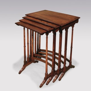 A set of Regency period padouk wood Quartetto Tables.