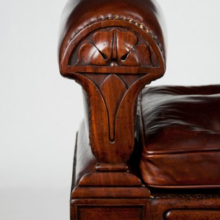 Rare William IV Mahogany and Leather Window Seat After John Taylor