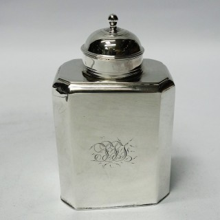 Antique Queen Anne Silver Tea Caddy