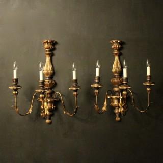 Florentine Large Triple Arm Giltwood Wall Lights
