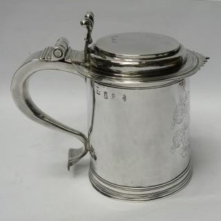 Antique William III Silver Lidded Tankard